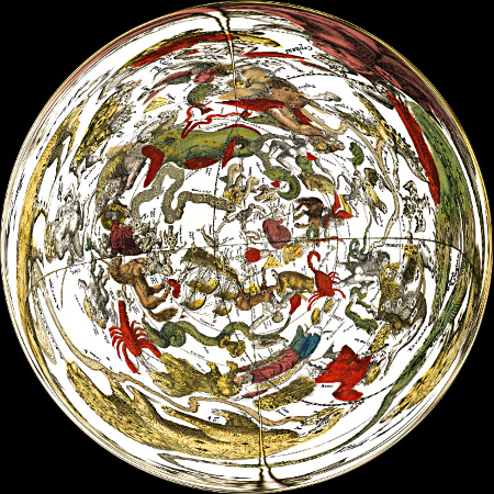 Celestial Map by Cellarius - The South Pole Centered -